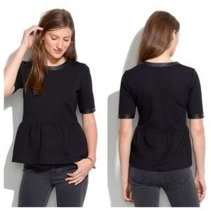 Madewell leather trimmed peplum top black size M